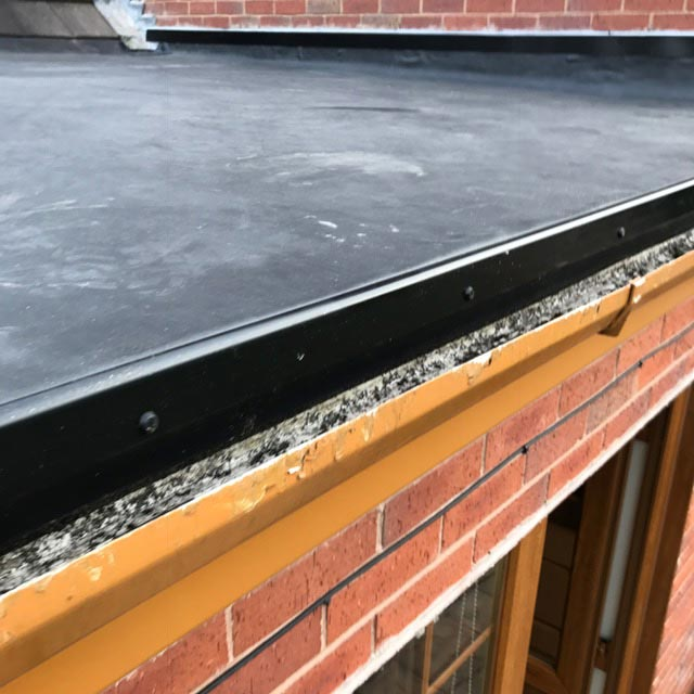 Completed rubber roofing installation